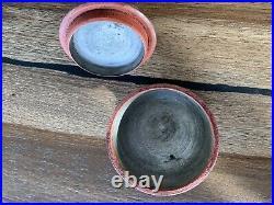 Rare Authentic Antique Primitive 19th. C Hand Painted Wood Saffron Cup, Folk Art