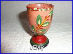 Rare Authentic Antique Primitive 19th. C Lehnware Painted Wood Egg Cup, Folk Art