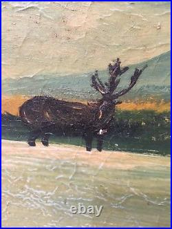 Rare Large Vintage Folk Art Landscape Painting Blue Ridge Mountains Scene