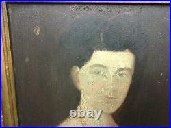 Rare Pair American Antique Original Primitive Folk Art 1850s Portraits Unsigned