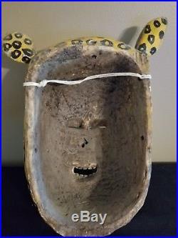 Rare Vintage Mexican Carved Wood Painted Folk Art Dance Jaguar & Face Mask