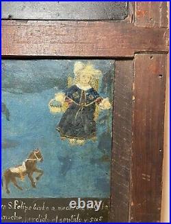 Rare two antique 1938 figural Mexican Folk Art retablo oil painting on tin tole