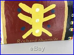 Richard Burnside Outsider Folk Art Portrait Painting on Wood Board