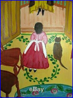 Rita Hicks Davis Signed Folk Art Painting Whimsical Ladies & Cat Naive