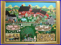 Rosebee Vintage Folk Art Ptg Cider Farm Important New England Folk Artist