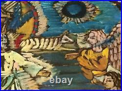 Rudolph Bostic Painting. 37x22. Outsider Folk Art