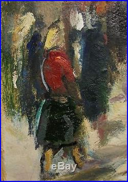 Russian Ukrainian Soviet Oil Painting impressionism folk fair market town