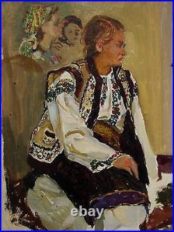 Russian Ukrainian Soviet Oil Painting woman folk costume realism sketch 1950s
