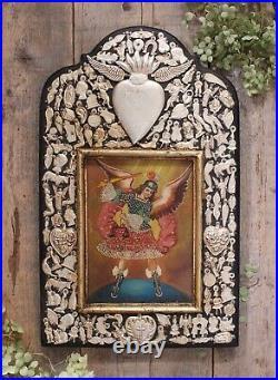 Saint Michael Original Painting & Mliagro Handmade Retablo Wood Mexican Folk Art
