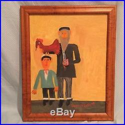 Samuel Granatt (American) Folk Oil on Canvas Painting Jewish Rabbi with Chicken