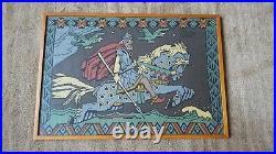 Scandinavian 1960s Viking ODIN Folk Art Textile Tapestry Loom Picture Framed