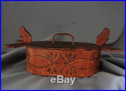Scandinavian Folk Art Tine Bent Box 19th Century Painted Toleware RED
