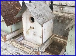 Set Of 4 Folk Art Vintage Repurposed Wood Hand Painted Old Hardware Birdhouses
