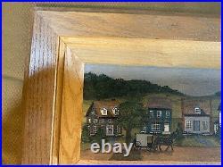 Shery Marchewka 1992 Amish Farm Folk Art Scene Oil Painting #2- Signed/Framed