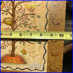 Signed Anne Wiest Pennsylvania Folk Art Theorem Painted on Fabric Birds in Tree