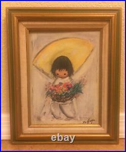 Signed DeGrazia The Flower Boy Framed Painting from Children Series 1977