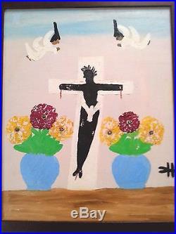Signed FOLK ART Painting Clementine Hunter BLACK JESUS ON CROSS, Louisiana, SLAVE