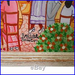 Signed Haitian Folk Art JACKSIN MESIDOR Painting Cap Haitien Wedding Party 1980s