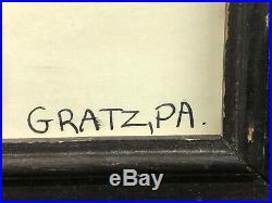 Signed John Stump Gratz PA Folk Art Black Americana Ink/Crayon This Ones Mine