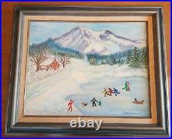 Signed Original Estate Vintage Ice Skating Winter Scene Framed Oil Painting