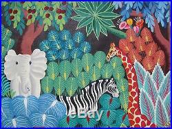 Signed Original Joel Gauthier Large Tropical Haitian Folk Art Painting