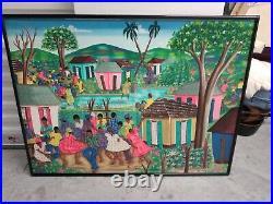 Signed Painting Haitian town party- celebration, Folk Art 30 x 40