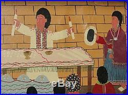 Signed Vintage Cotopaxi Ecuador Folk Art Painting Wedding Matrimonio