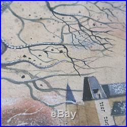 Signed Vintage Folk Art Fox Hunt Figures Horse Dogs Cityscape Landscape Painting