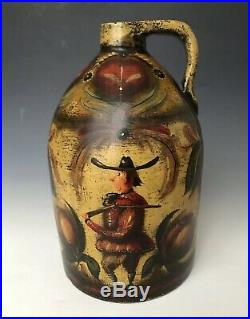 Signed WC Wrede Antique Stoneware Jug with Painted Ompir Type Folk Art Decoration