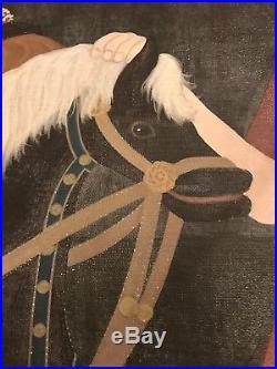 Signed large framed folk art painting naive portrait by Susan Potter