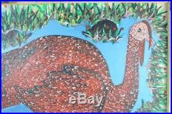 Sisson Blanchard Listed Haitian Artist Oil On Board Of Turkey Folk Art