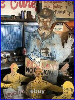 Steel Mill Memorabilia Antique hand painted Signs industrial 1940s Folk Art