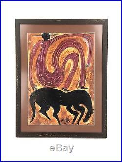 Steven Chandler Georgia Red Mud Folk Art Outsider Painting Horse & Man