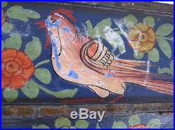 Stunning Paint Decorated Primitive Folk Art Slanted Top Footed Trunk Chest Lion