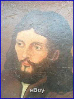 Stunning Vintage Oil Painting Primative folk art Portrait Ras Putin Monk