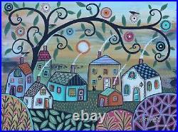 Sunday Landscape 12 x 16 ORIG CANVAS PAINTING Folk ART Whimsy PRIM Karla Gerard