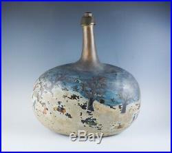 Superb Antique 18c Large Winter Scene Painted Folk Art Glass Onion Bottle AAFA