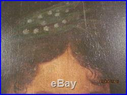 Superb Museum Quality 18/19th C. Folk Art Portrait of A Lady Oil on Panel