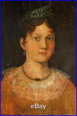 Superb Museum Quality 18th Century Folk Art Portrait of A Lady Oil on Panel
