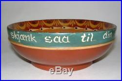 Superb Vintage Scandinavian Norwegian Rosemaling Hand Painted Wood Folk Art Bowl