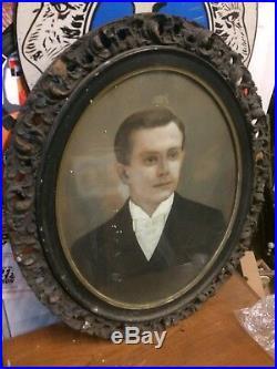 Terrific Antique Primitive Folk Art Pastel Portrait Of Man Oval Ornate Frame