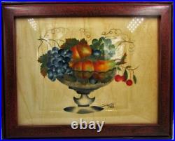 Theorem Painting on Velvet Bird In Hand PA Dutch 18th C Folk Art Signed Deverter