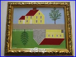 Tom Dolan Painting Original Signed Landscape Modernism Folk Style Surreal Pop