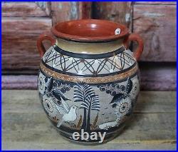 Tonala Vase Handmade & Painted Deer Wildlife Pottery by Solis Mexican Folk Art