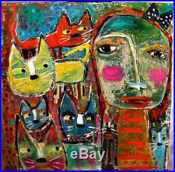 Tracey Ann Finley Original Outsider Folk Raw Brut Painting Girl Cat 24x24.99 NR