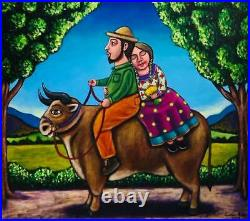 Traditional Mexican landscape couple riding bull painting German Rubio folk art