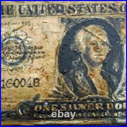 Trompe LOeil 1 Dollar Bill Oil on Board 1920s