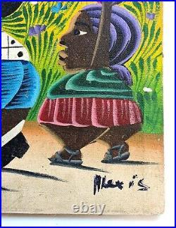 VINTAGE HAITIAN OUTSIDER FOLK ART PAINTING ON CANVAS SIGND ALEXIS 50s KITSCH POP