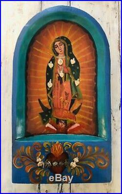 VIRGIN GUADALUPE NICHO Painted Batea Doughbowl w Milagros Mexican Folk Art 18