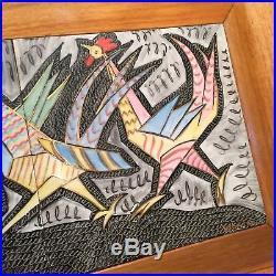 VTG AIDA WHEDON MCM Chicken Rooster Original Folk Painting Framed Tile Signed